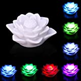 Staron LED Night Light Color Changing Kids Christmas Gift, Staron Battery Power Lotus LED Lamp Decor 7 Colors Changing LED Night Lamp With Switch Bedroom Home Bulb Decoration (White)