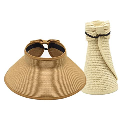 (2 Pack Women Sun Visor Hats Beach - Foldable Roll Up Wide Brim Bowknot Summer Straw Hat Cap Cruise wear for Womens 2pcs)