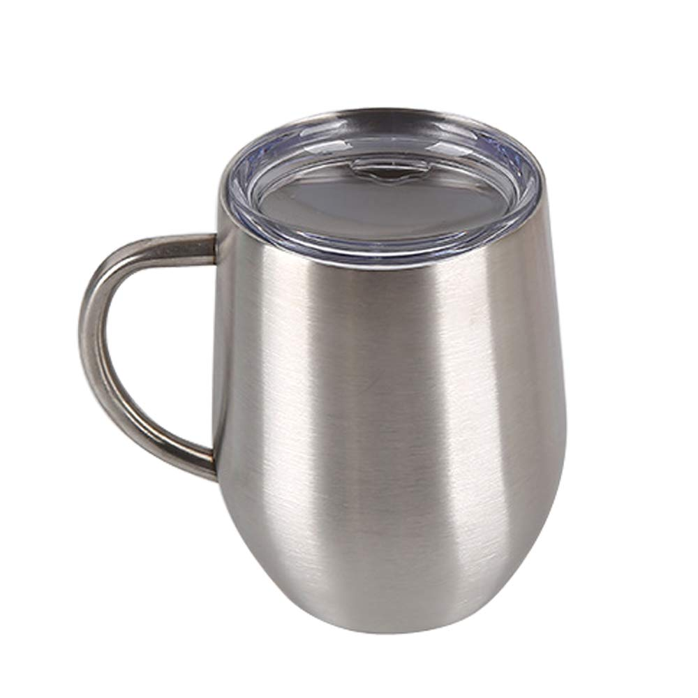 Stemless Wine Glasses Unbreakable 12oz Stainless Steel Wine Cups with Handle 1pcs