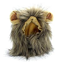 Fanme Lion Mane Wig for Cats Pet Costume Lion Hair Headgear with Ears Christmas Halloween Easter Festival Wig Cosplay Costume