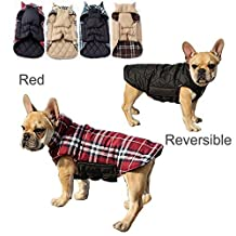 Pet Dog plaid Warm Coats and Jackets Hoodie Sweater Waterproof Snowproof Clothing Autumn Winter Reversible Clothes Warm Padded Apparel Waistcoat Sweatshirt Chest Protector(S,Red)