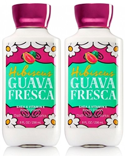 Set of 2 Bath and Body Works Hibiscus Guava Fresca 8 Ounce Body Lotions - Guava Set