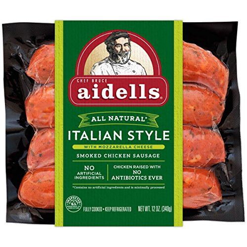 - Aidells Smoked Chicken Sausage, Italian Style with Mozzarella Cheese, 12 oz. (4 Fully Cooked Links)