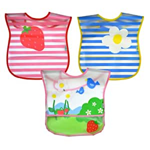 green sprouts  Wipe-Off Bib, Pink Garden, 3 Count