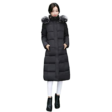 92e54955aef NUWFOR Parka Jacket Women Faux Fur Hooded Cotton Padded Long Sleeve  Outerwear Coats for Winter