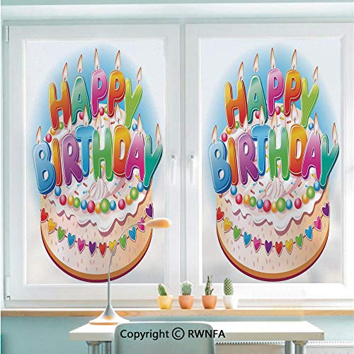 RWNFA Window Films Privacy Glass Sticker Cartoon Happy Birthday Party Image Cake Candles Hearts Print Static Decorative Heat Control Anti UV 22.8In by 35.4In,Multicolor