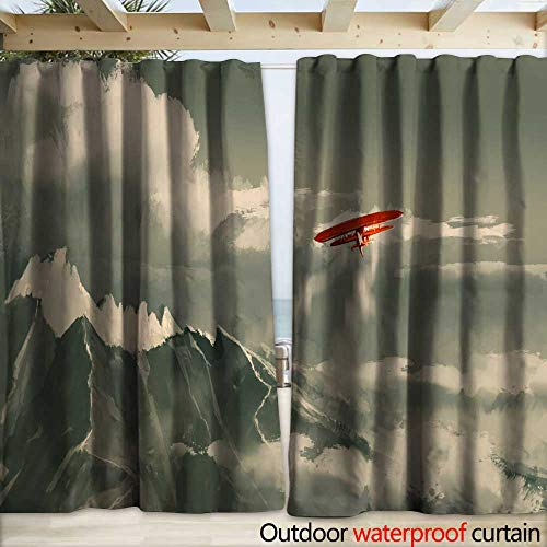 warmfamily Outdoor Curtain Panel for Patio red Biplane Flying Over Mountain Illustration Drapery W108 x L108