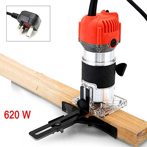 SENRISE Wood Trimmer 220V 620W Power Router Woodworking Plunge Laminate Wood Edge Trimmer for Wood Cutting, Trimming…