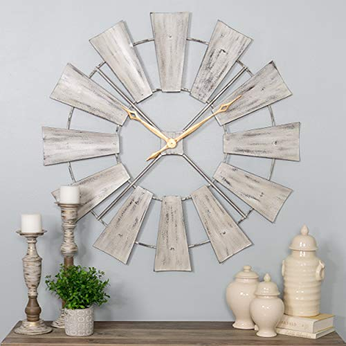 White Gold Windmill Clock Oversized Western French Country Rustic Farmhouse Theme Gray, Metal