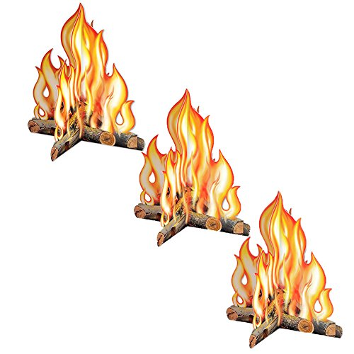 Beistle Premium 3-D Campfire Centerpiece (3-Pack) | Childrens Reusable Party Decoration | Camping, Western Party, Cowboys & Indians and More