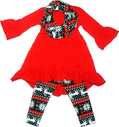 Boutique Clothing Girls Christmas Outfit Clothing Set Fair Isle Red/Black (Holiday Outfits For Toddler Girls)