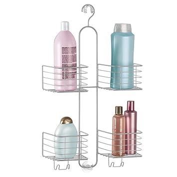 mDesign Estantería ducha sin taladro - 4 cestas– Accesorios ducha para  organizar productos de higiene 5ea33a72defa