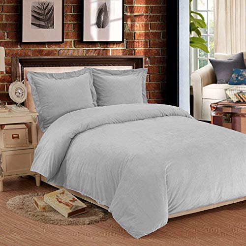 NTBAY 3 Pieces Duvet Cover Set, Flannel Fleece, Plush Microfiber, Lightweight and Cozy, Bedding Set, Queen, Grey