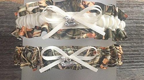 Sexy Camouflage Ivory Satin Camo Wedding Bridal Garter SET - Duck -
