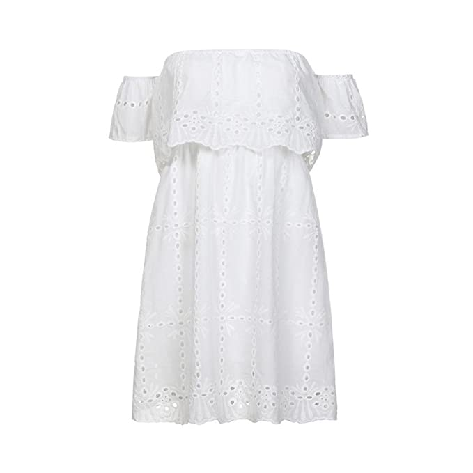 ESAILQ Dress, Women Off Shouder Embroidery Mini Evening Party Beach Sundress: Amazon.co.uk: Clothing