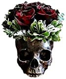 Ebros Gift Bronzed Day Of The Dead Skull Bowl Figurine 7''Long Skeleton Head Gardening Planter Sculptural Vessel Treat Container Decorative Bowl