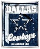 """NFL Dallas Cowboys """"Old School"""" Mink Sherpa Throw Blanket, 50″ x 60″"""