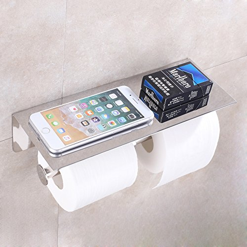APL Double Toilet Paper Holder, SUS304 Stainless Steel Bathroom Paper Tissue Holder with Mobile Phone Storage Shelf Rack (Polished Chrome) (Steel Toilet Stainless Tissue)