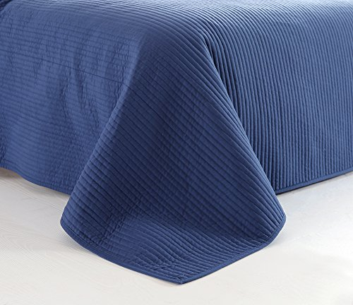 Style Homes 3-Piece Luxury Quilt Set with Sham(s), Ultra Soft Microfiber Bedspread and Coverlet with Half inch Channel Stitch Design, Oversized, King, Blue Indigo by Style Homes (Image #5)