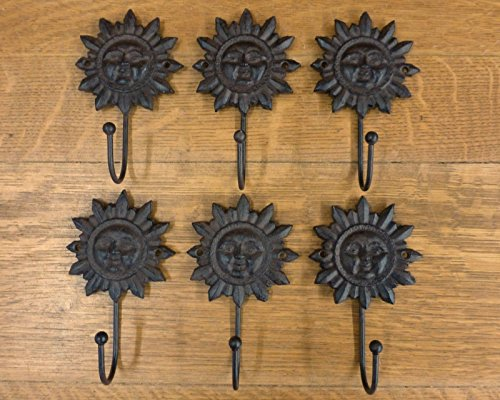 - Rustic & Primitive Crafting Supplies (A) Manufactured to Look Antique 6 Brown Sun FACE Hooks Antique-Style CAST Iron Decor Sunburst Yard Garden Inspiration for A Project