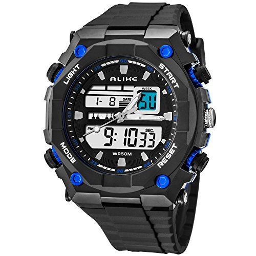 Authentic fashionable AK1275 multi-functional outdoor sports package sport digital electronic watch waterproof students watch (blue)