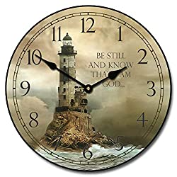 Lighthouse 2 Wall Clock, Available in 8 Sizes, Most Sizes Ship The Next Business Day, Whisper Quiet.