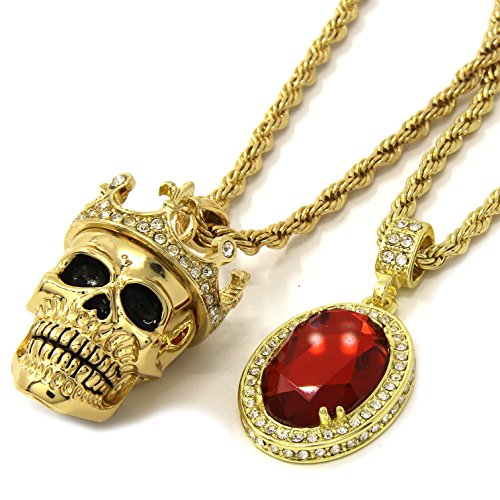 Crowned Skull Pendant - Mens Gold Crowned Skull Red Ruby Bundle Set Pendant Hip Hop 24