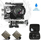 Action Camera ZONKO 1080P Full HD Wi-Fi 2'' LCD Sports Camera 170° Wide Angle 30M Waterproof Camera 2 Rechargeable 1050mAh Batteries Free Portable Carrying Bag Include 18 Accessories Kit
