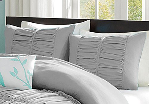 Bedding Empire Ultra Soft Solid Center Gathered Ruffle Pillow Shams Pair 100% Egyptian Cotton 600 Thread Count (2 piece set) Queen Silver