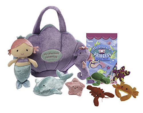 Mermaid Adventure Playset | Mermaid Adventure Playset 5 Piece Set | + 4 Bonus Stuffed Sea Creatures with Mermaid Sticker (Little Mermaid Sea Creature Costumes)