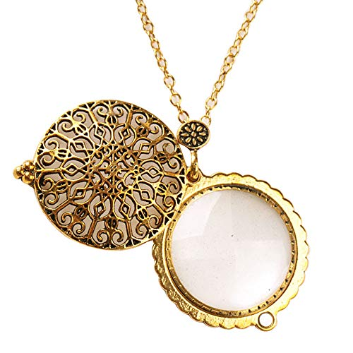 (Sherry Magnifiers 5X Antique Hanging Magnifier Hollow Out Necklace Pendant Map Reading Magnifying Glass Gold)