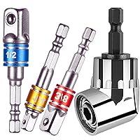 4Pcs Power Hand Tools,105 Right Angle Drill Degree Adapter Attachment 1/4″ Drive 6mm Hex Magnetic Bit Socket Screwdriver Holder Adaptor+3Pcs 1/4″ 3/8″ 1/2″ Hex Shank Impact Grade Socket Adapter Set