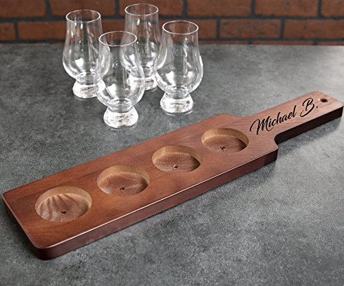 Personalized Finish Wood Beer Flight Sampler Paddle | Custom Engraved (Brown)