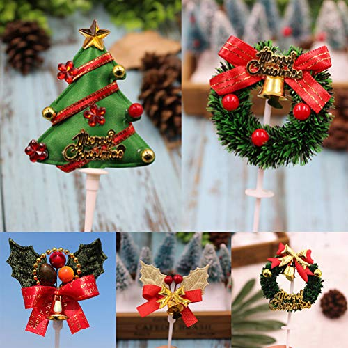 DatingDay 50 Pieces Christmas 3D Cupcake Toppers Picks For Xmas Decoration Party Favors,5 ()