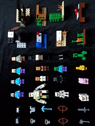 5 Lego Minecraft building blocks + 15 generic minifigures & building blocks with manual