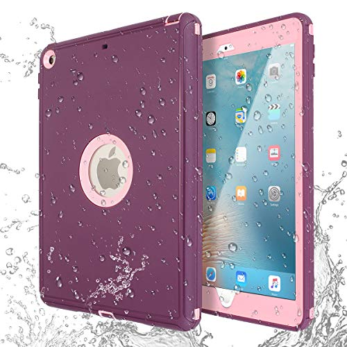 (IPad 5th 6th Generation Waterproof Case, AICase Waterproof 360 Degree All Round Protective Ultra Slim Thin Dust/Snow Proof with Support Shockproof Case for iPad 2017/2018)