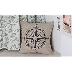 Decorbox Nautical Compass Cotton Linen Pillow Cover 18 x 18''