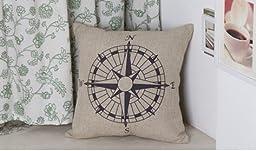 Decorbox Nautical Compass Cotton Linen Pillow Cover 18 x 18\'\'