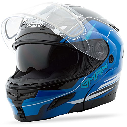 GMAX GM54S Adult Terrain Modular Racing Snowmobile Helmet - Black/Blue Small