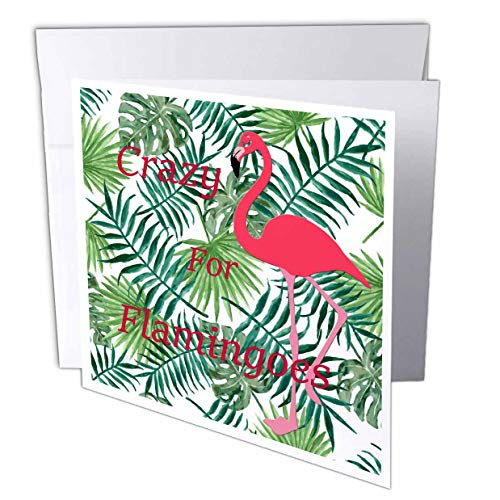 - 3dRose Lens Art by Florene - Crazy for Birds - Image of Crazy for Flamingoes On Fuchsia Bird and Ferns - 12 Greeting Cards with envelopes (gc_310037_2)