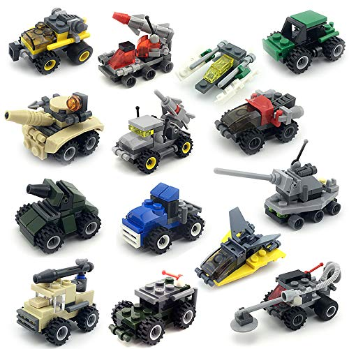 14 Pack Mini Building Bricks Military Vehicles,Compatible Bricks with All Major Brands,Building Blocks Sets for Party Favors, Kids Prizes, Goodie Bags (14k Brick)