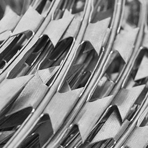 vidaXL 12'' Razor Wire/Helical Barbed Wire Galvanized Steel 1 Coil 197 Feet Coverage by vidaXL (Image #1)