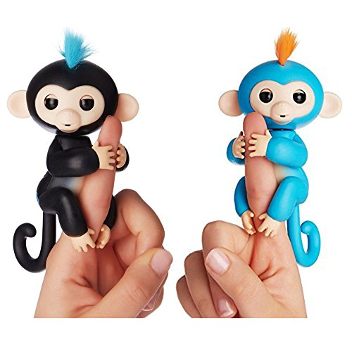 Fingerlings   Interactive Baby Monkey For Kids Toy   2 Pack Finn  Black With Blue Hair  And Boris  Blue With Orange Hair