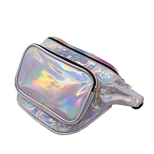 Putini Hologram Waist pack Fanny Pack Unisex Laser Waist Bag PVC Waterproof Travel Beach Belt Pack Purse for Walking Hiking Cycling Traveling Running by Putini