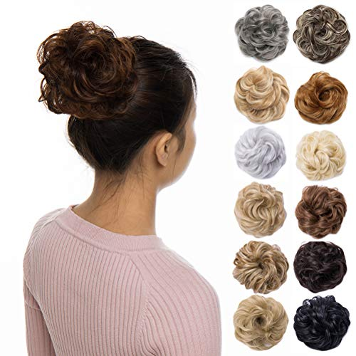 - Scrunchy Updo Wavy Straight Hair Bun Clip Messy Donut Chignons Synthetic Hairpiece Hair Extension (light auburn mix light ash brown)