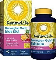 Renew Life Norwegian Gold Kids Fish Oil - Kids DHA, Fish Oil Omega-3 Supplement - Gluten & Dairy Free - 60