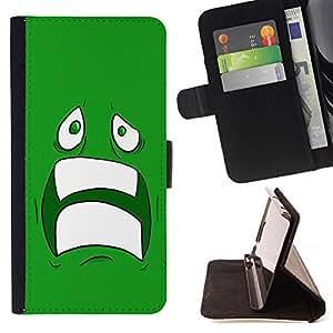 BullDog Case - FOR/Samsung Galaxy S4 Mini i9190 / - / cool sad scared face ugly fear cartoon green teeth /- Monedero de cuero de la PU Llevar cubierta de la caja con el ID Credit Card Slots Flip funda de cuer