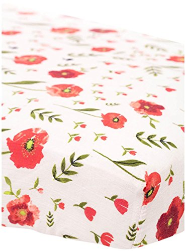 UPC 812967022250, Little Unicorn Cotton Muslin Fitted Sheet - Summer Poppy