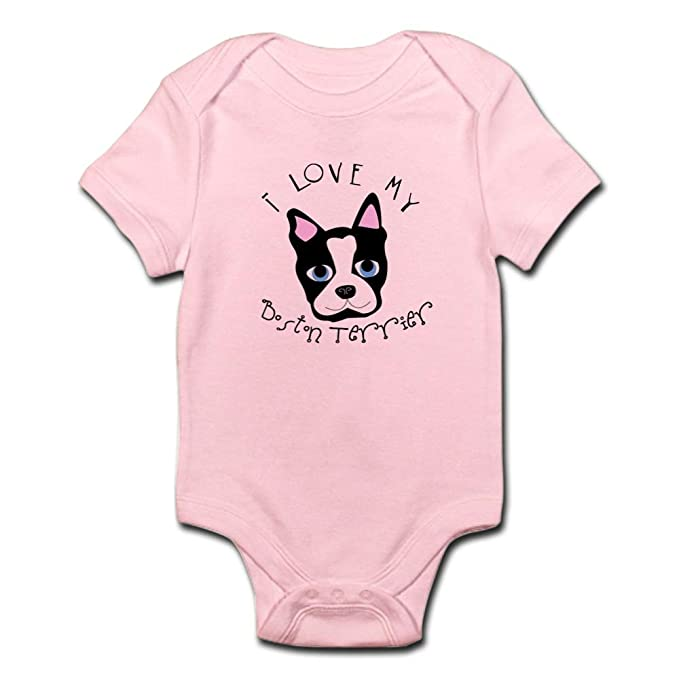 f9ea7cdef9a7 CafePress I Love My Boston Terrier White Infant Creeper Cute Infant  Bodysuit Baby Romper