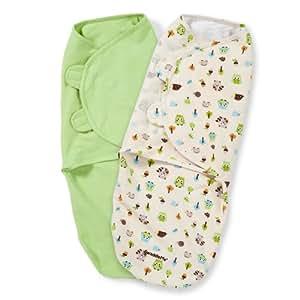 Summer Infant SwaddleMe Adjustable Infant Wrap, Woodland Friends, 2 Count, small/medium
